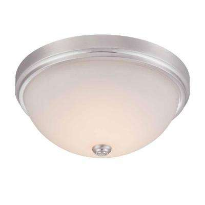 13.25 in. Satin Nickel LED Flushmount with Frosted Glass