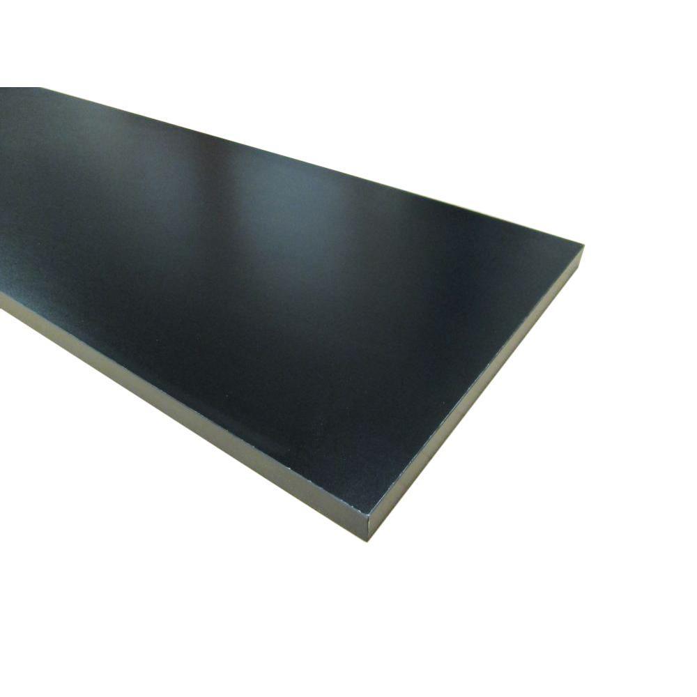 null 3/4 in. x 12 in. x 72 in. Black Thermally-Fused Melamine Shelf