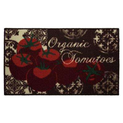 Tomatoes 18 in. x 30 in. Textured Oblong Accent Kitchen Rug