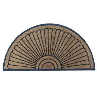 A1HC First Impression Sunburst Half Moon Tapered Edge 36 in. x 72 in. Extra Large Rubber and Coir Door Mat