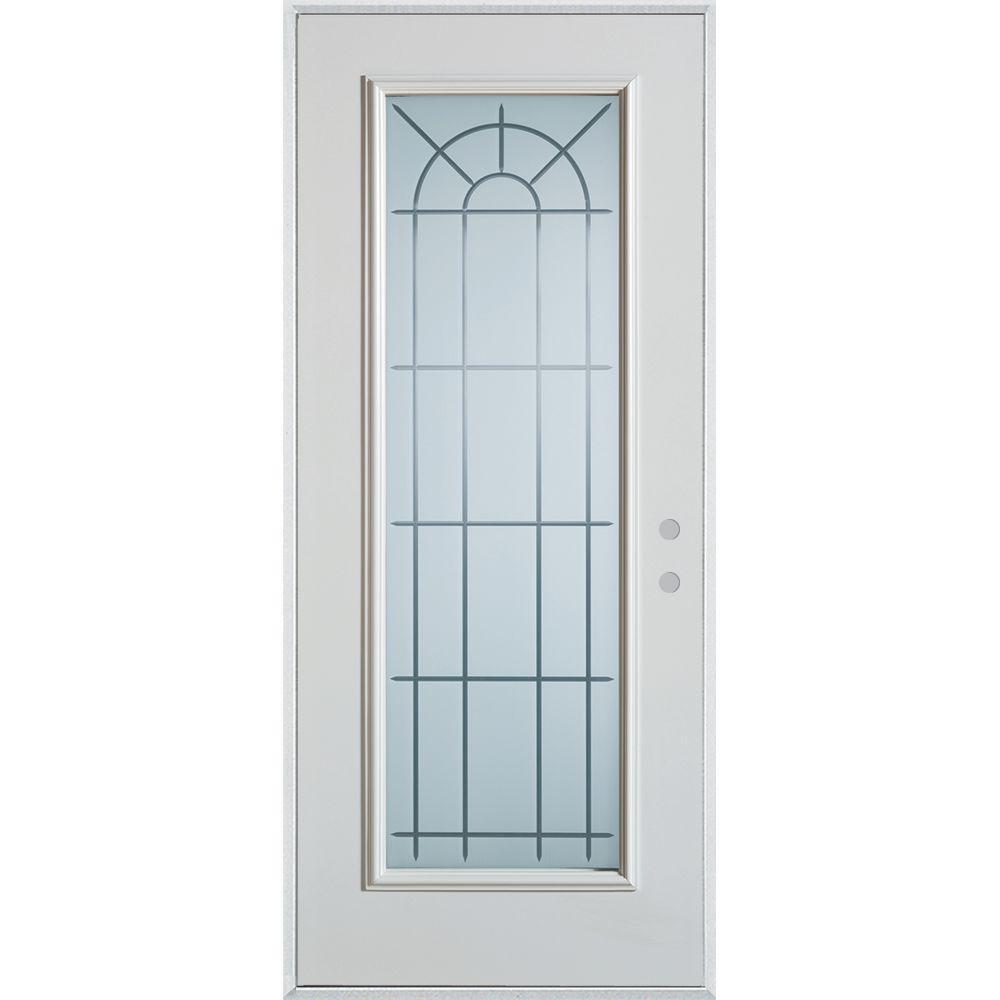 Stanley Doors 37.375 in. x 82.375 in. V-Groove Full Lite Prefinished White Left-Hand Inswing Steel Prehung Front Door