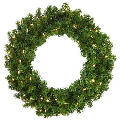 30 in. LED Pre-Lit Downswept Douglas Fir Artificial Christmas Wreath