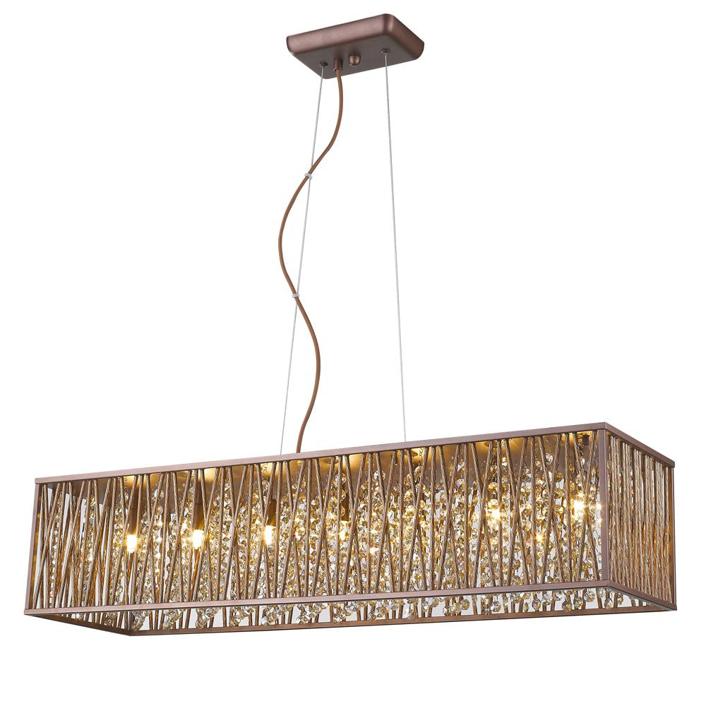 Sophia Collection 7-Light Espresso Chrome Rectangular Pendant