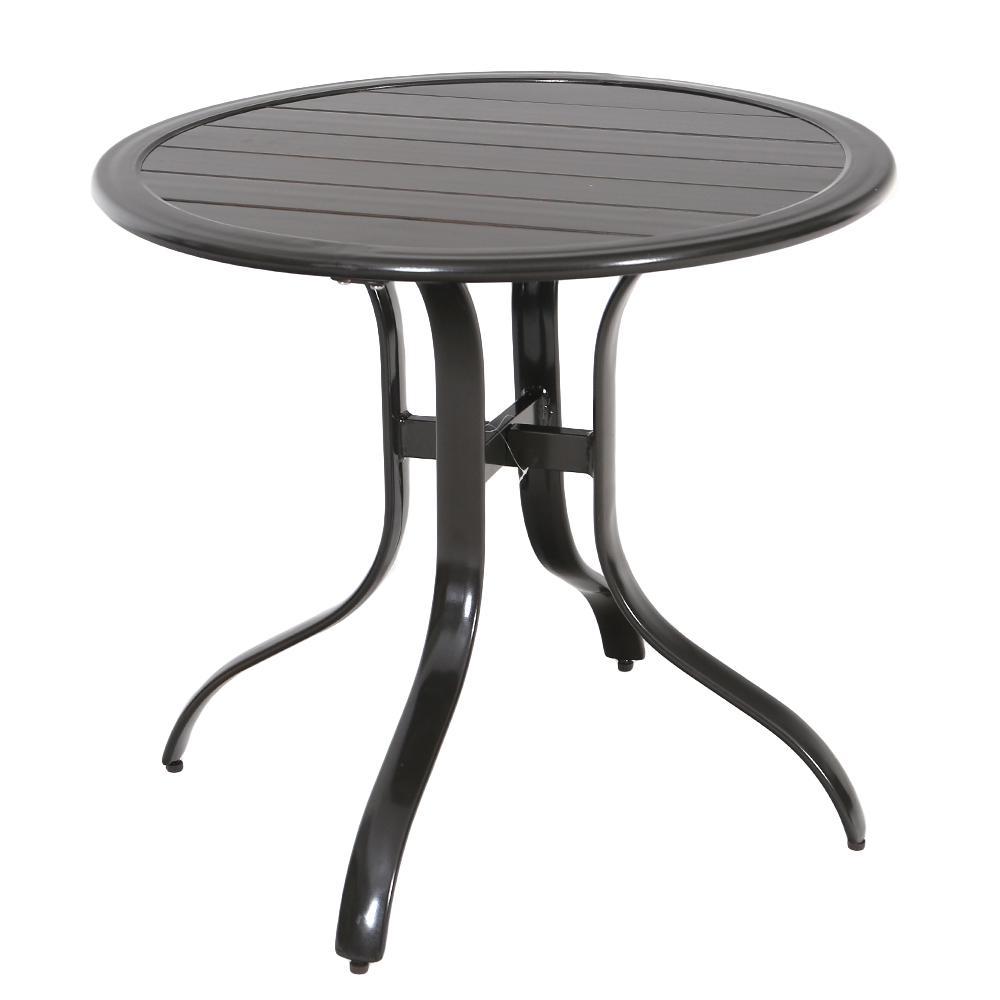 Commercial Aluminum 30 in. Outdoor Slat Top Bistro Table in Brown