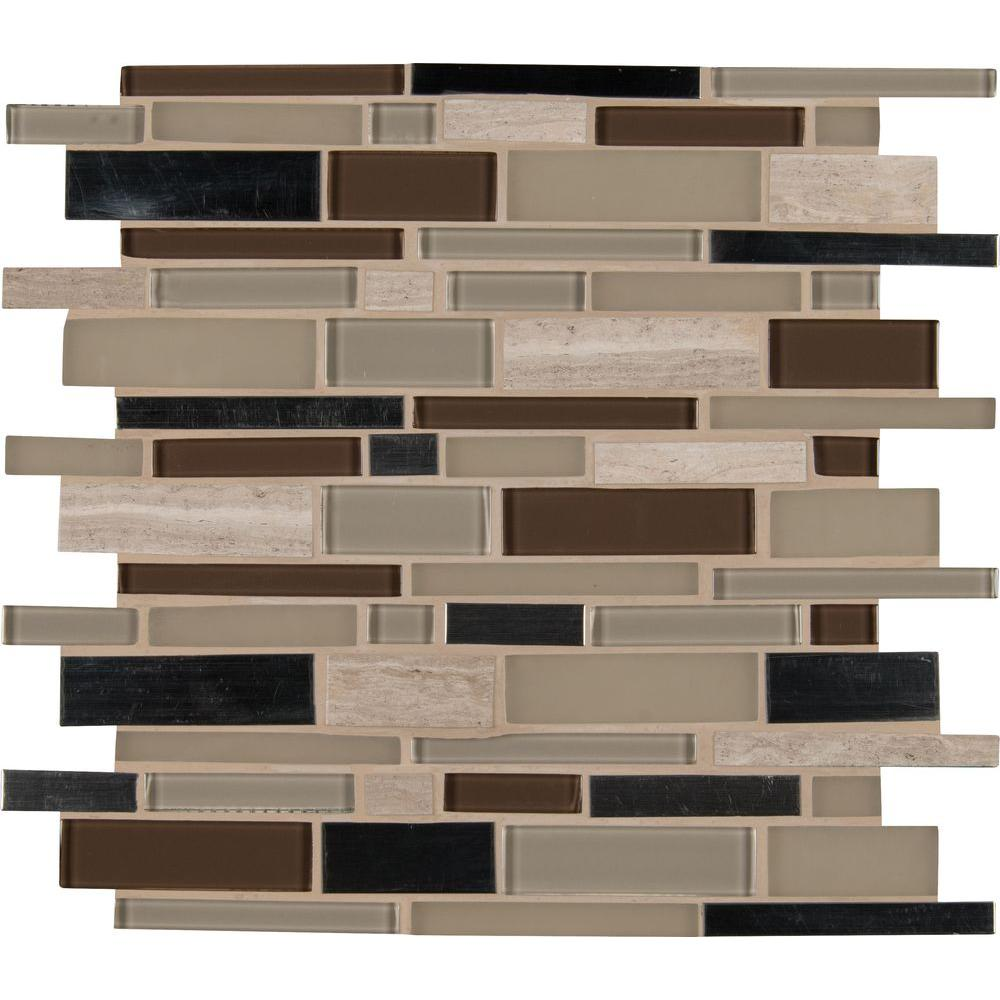 Silverton interlocking 12 in x 12 in x 6 mm glass metal for Installing glass tile with mesh back