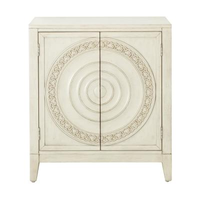 Traditional Carved Distressed Cream Ornate 2-Door Accent Chest