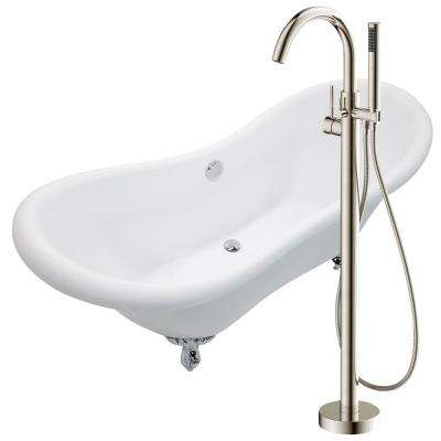 Aegis 68.75 in. Acrylic Clawfoot Non-Whirlpool Bathtub in White with Kros Faucet with Hand Shower