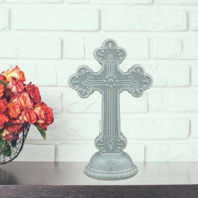 6 in. x 10 in. Chambray Ceramic Cross Pedestal