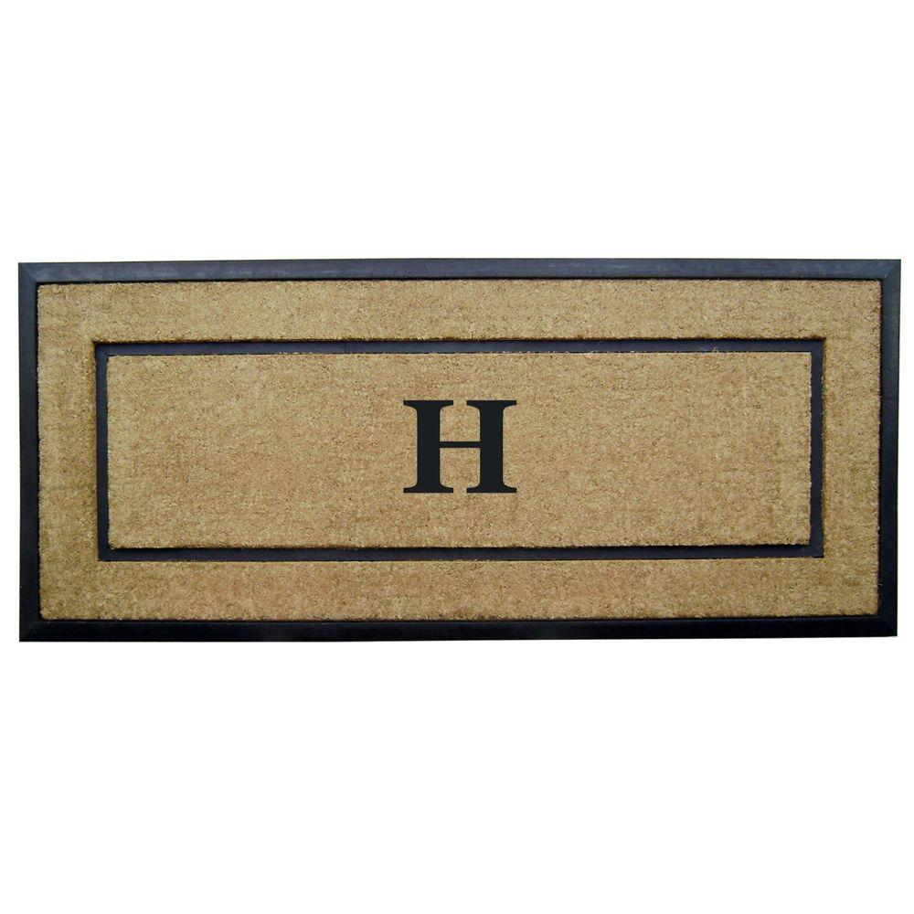 Nedia Home DirtBuster Single Picture Frame Black 24 in. x 57 in. Coir with Rubber Border Monogrammed H Door Mat