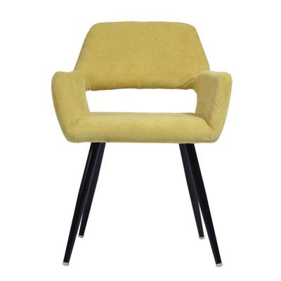 Cromwell Yellow Fabric Upholstered Hollow Design Armrest Side Chair