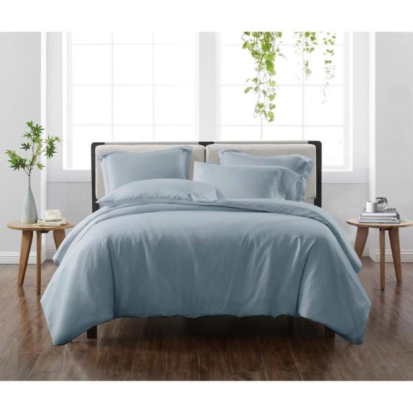 Solid Blue King 3-Piece Duvet Cover Set