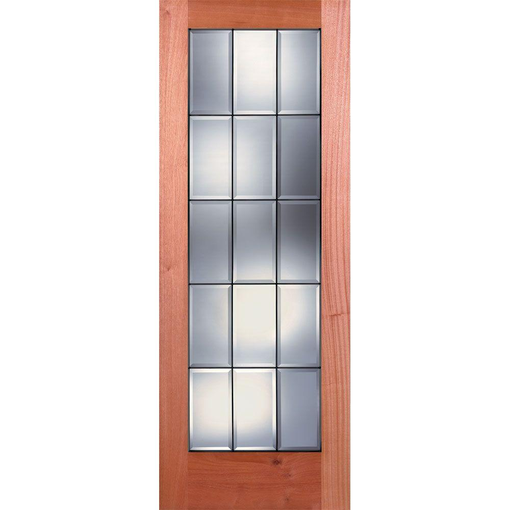 Feather River Doors 30 in. x 80 in. 15 Lite Unfinished Mahogany Clear Bevel Patina Woodgrain Interior Door Slab