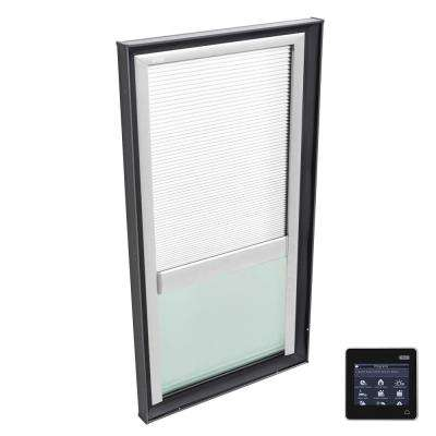 22-1/2 in. x 46-1/2 in. Fixed Curb Mount Skylight w/ Tempered Low-E3 Glass & White Solar Powered Room Darkening Blind
