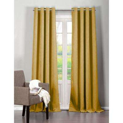 Blackout Quincy 84 in. L Blackout Grommet Panel in Mustard (2-Pack)