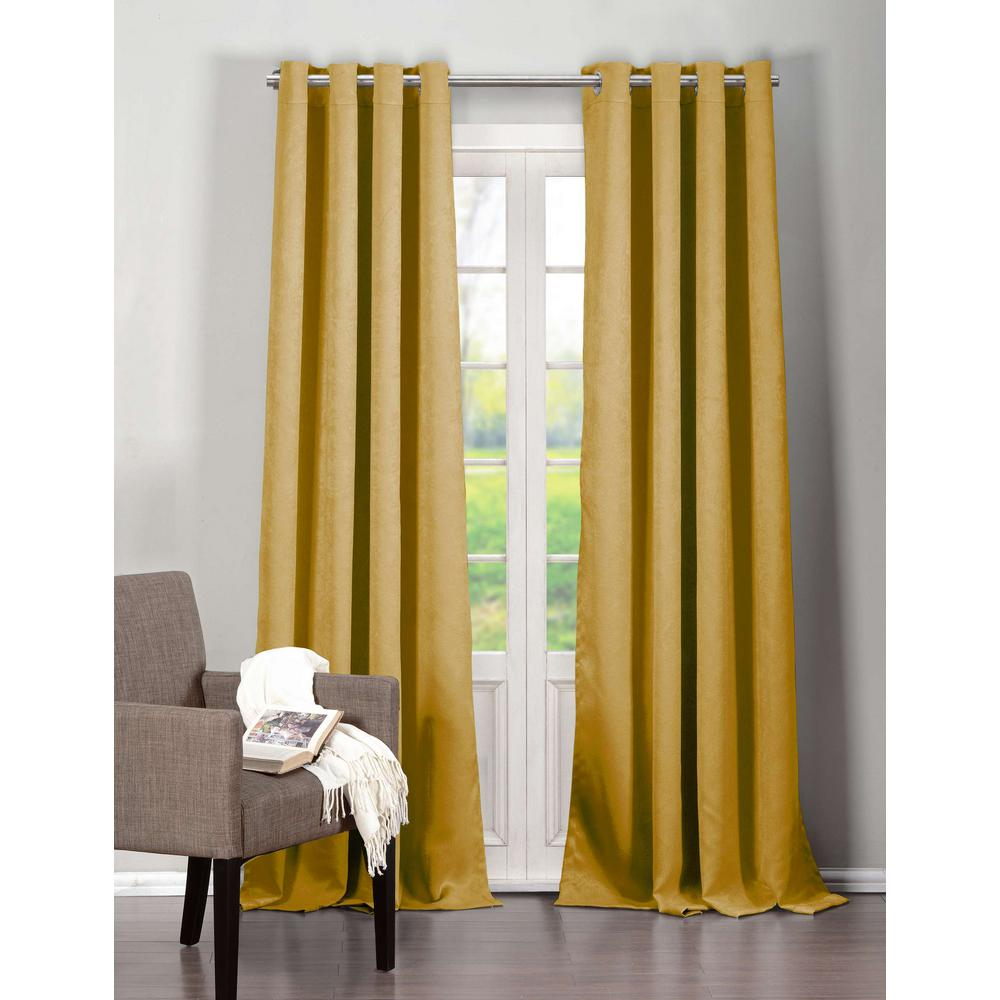 Mustard Yellow Kitchen Curtains: Duck River Blackout Quincy 84 In. L Blackout Grommet Panel