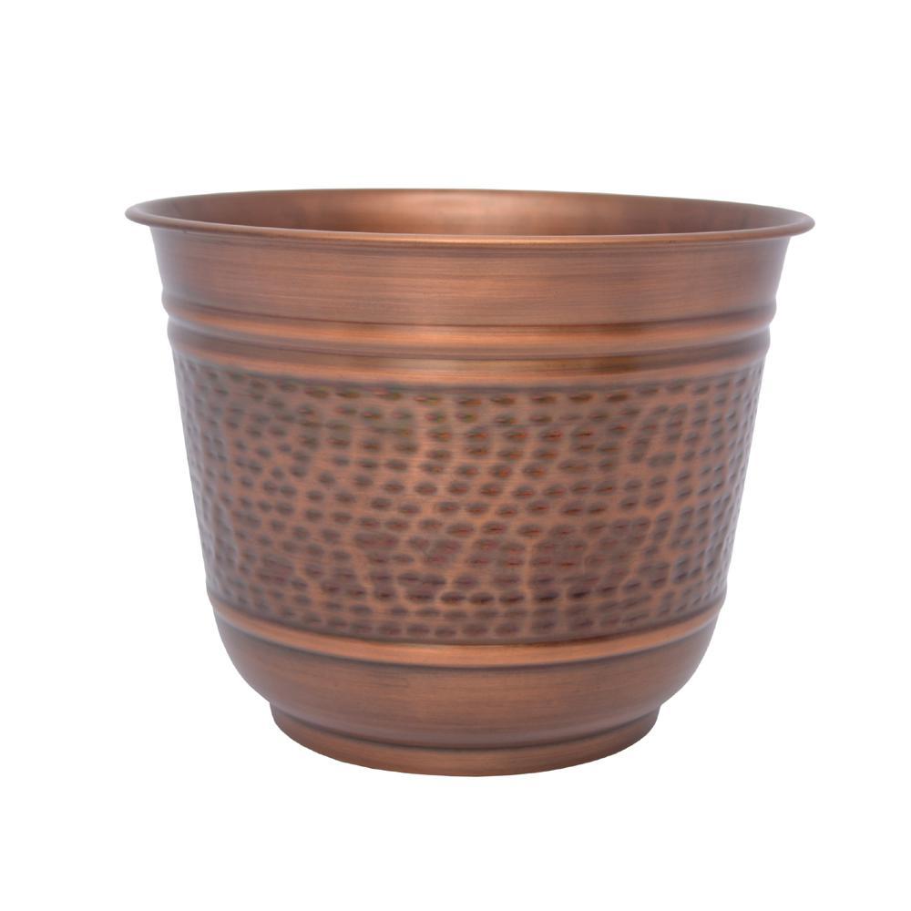 12 in. Antique Copper Round Medium Metal Planter