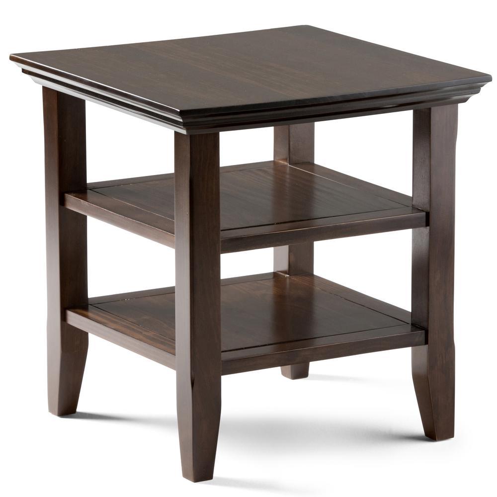 Acadian Solid Wood 19 in. Brunette Brown Wide Rustic End Table