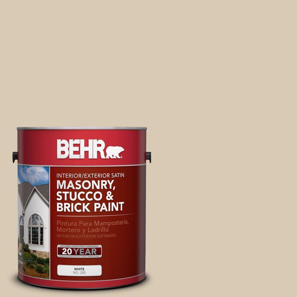 BEHR Premium 1 gal. #MS-41 Sandstone Beige Satin Interior/Exterior Masonry, Stucco and Brick Paint