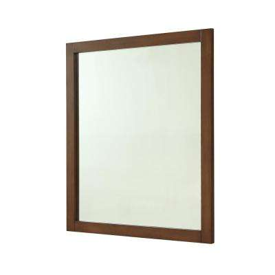 Easton 32 in. Contemporary Mirror with Teak MDF Frame, Square Shape, Mounting Type: Metal Inset Hanger