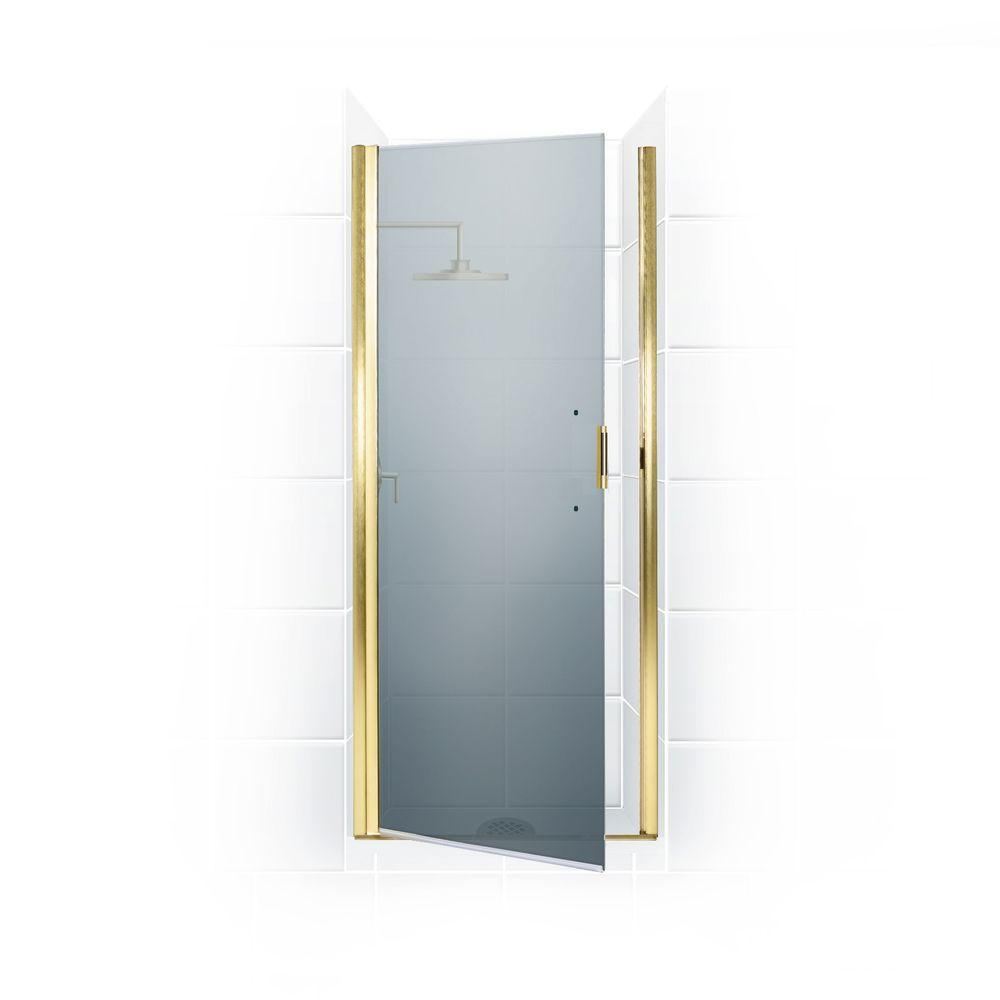 Coastal Shower Doors Paragon Series 32 in. x 65 in. Semi-Framed Continuous Hinge Shower Door in Gold with Satin Etched Glass