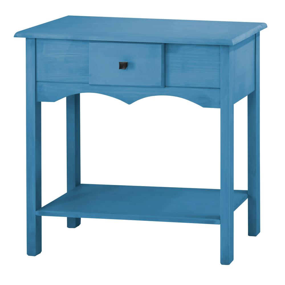 Manhattan Comfort Jay 31.49 in. Tall Blue Wash Sideboard with 1-Full ...