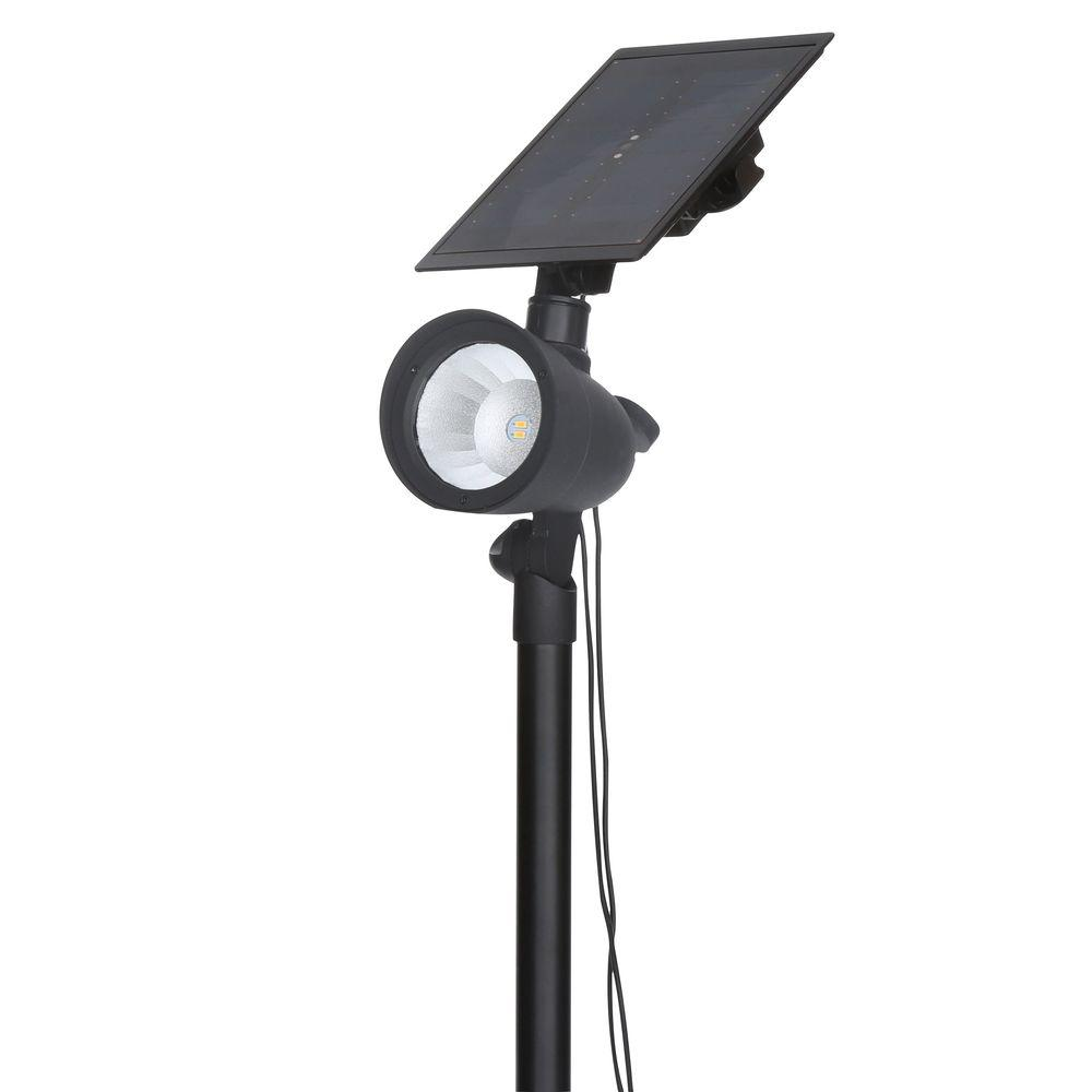 Hampton Bay Black Solar Outdoor LED 70 Lumen Spotlight