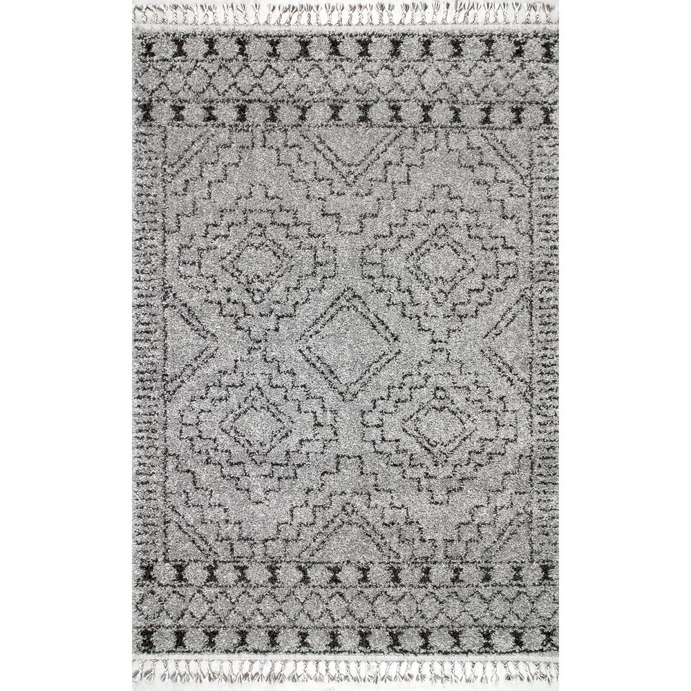 NuLOOM Vasiliki Moroccan Tribal Tassel Gray 7 Ft. 10 In. X