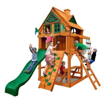 Chateau Tower Treehouse with Fort Add-On and Amber Posts Cedar Swing Set