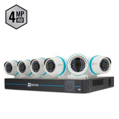 8-Channel 4-Mega Pixel 2TB NVR Surveillance System with 6 4MP Cameras with 100 ft. Night Vision