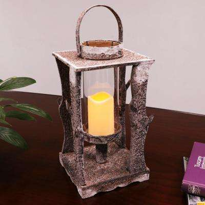 19-1/2 in. tall square Wooden Lantern with LED Candle