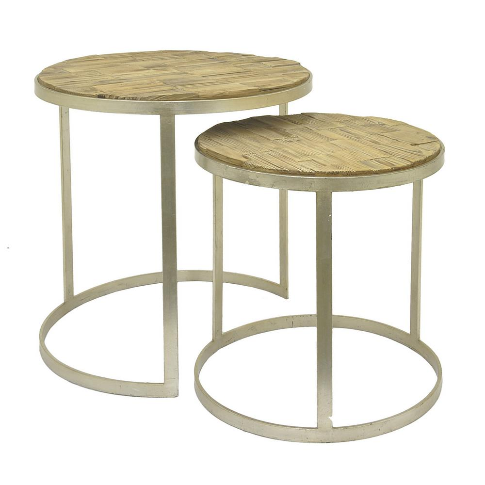 Brown Wood Table Nested (Set Of 2)