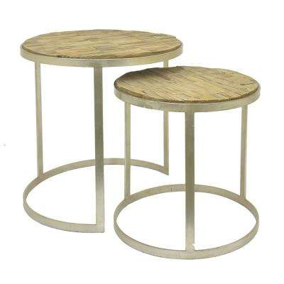 24 in. Brown Wood Table Nested (Set of 2)