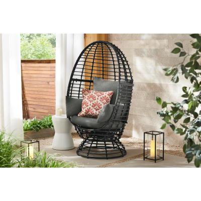 Black Wicker Outdoor Patio Egg Lounge Chair with Gray Cushions