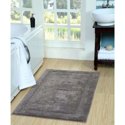 34 in. x 21 in. Cotton Bath Rug in Gray