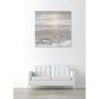 "36 in. x 36 in. 'Water Grey Sea"" by ""Oliver Gal"" Printed Framed Canvas Wall Art"