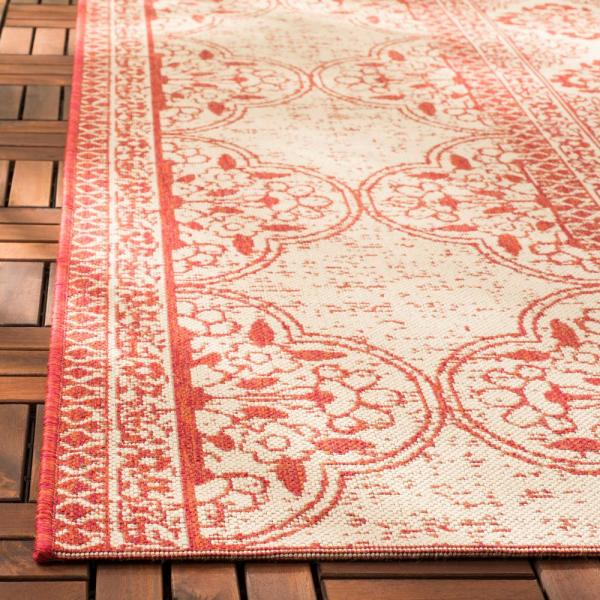 Safavieh Beach House Red Cream 9 Ft X 12 Ft Indoor Outdoor Area Rug Bhs174q 9 The Home Depot
