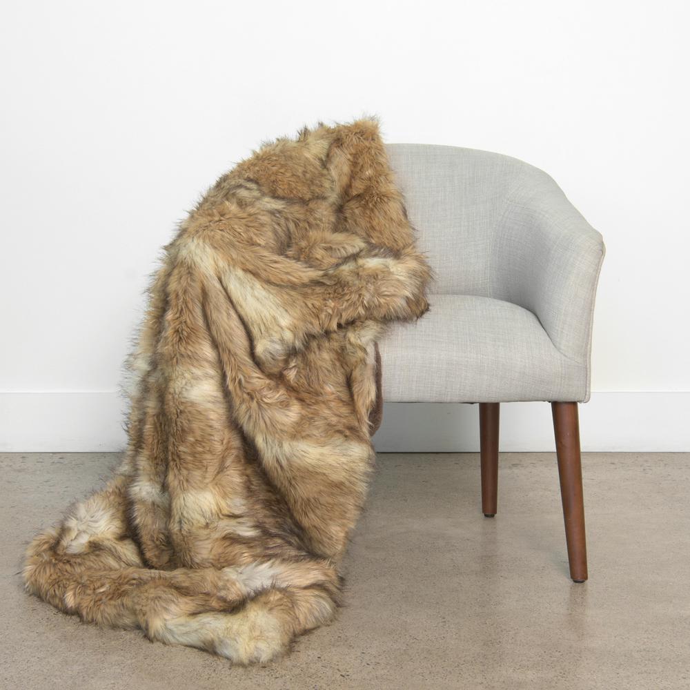 Wild Mannered 54 in. x 36 in. Platinum Frost Fox Faux Fur Throw