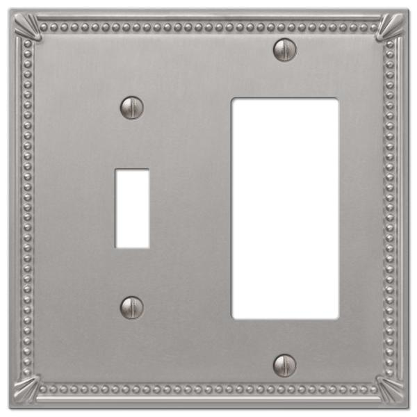 Imperial Bead 2 Gang 1-Toggle and 1-Rocker Metal Wall Plate - Brushed Nickel