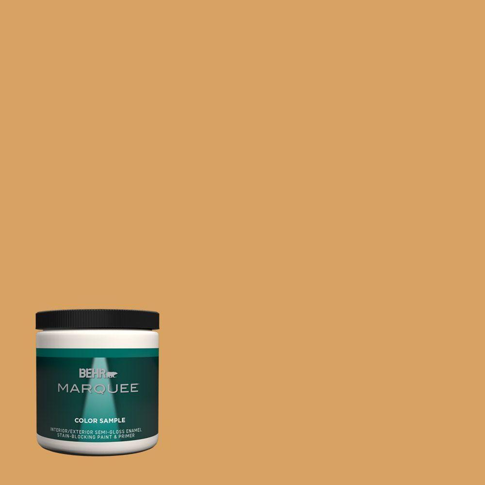 Behr Marquee 8 Oz Mq4 10 Amber Brew One Coat Hide Interior Exterior Semi Gloss Enamel Paint
