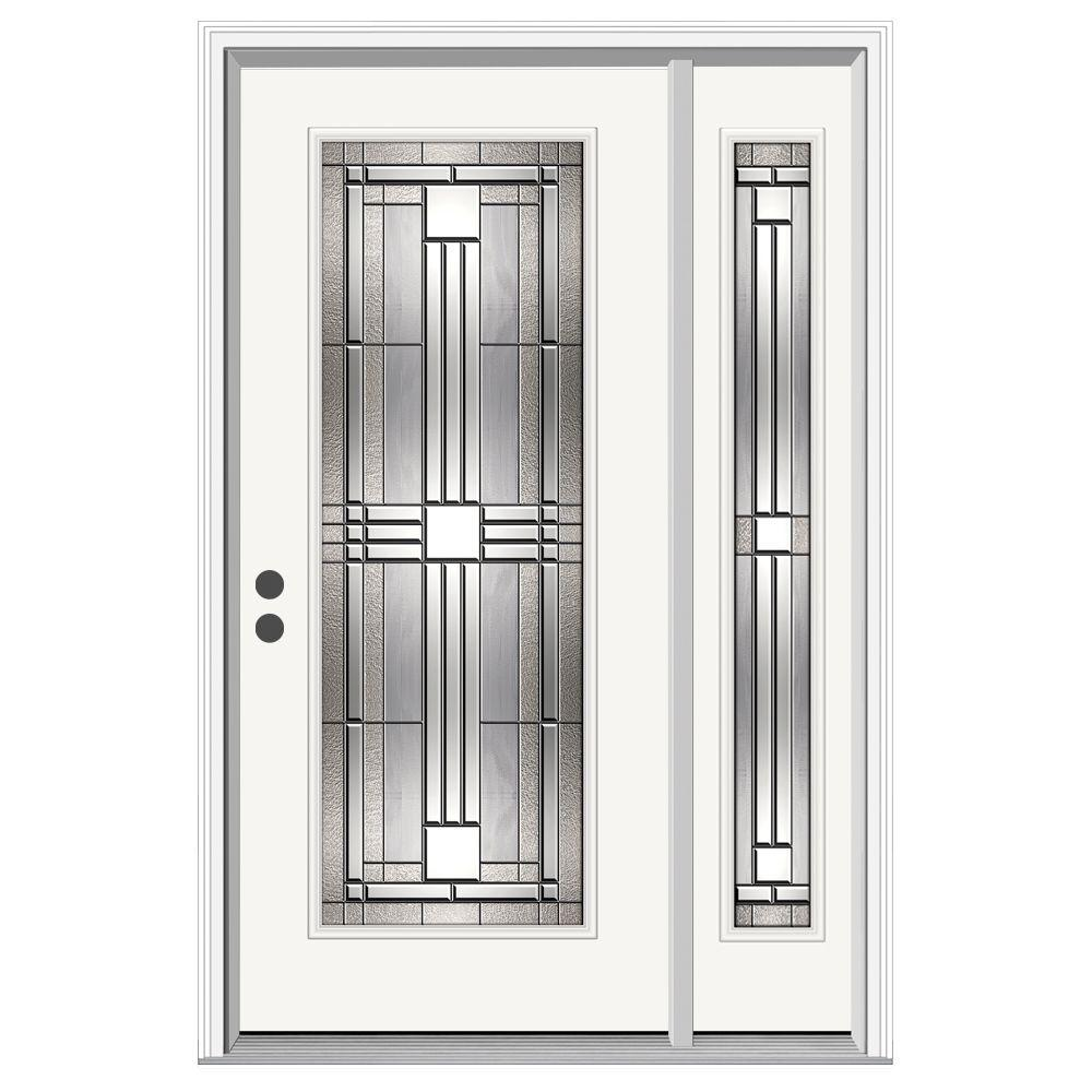 JELD-WEN 52 in. x 80 in. Full Lite Cordova Primed Steel Prehung Right-Hand Inswing Front Door with Right-Hand Sidelite