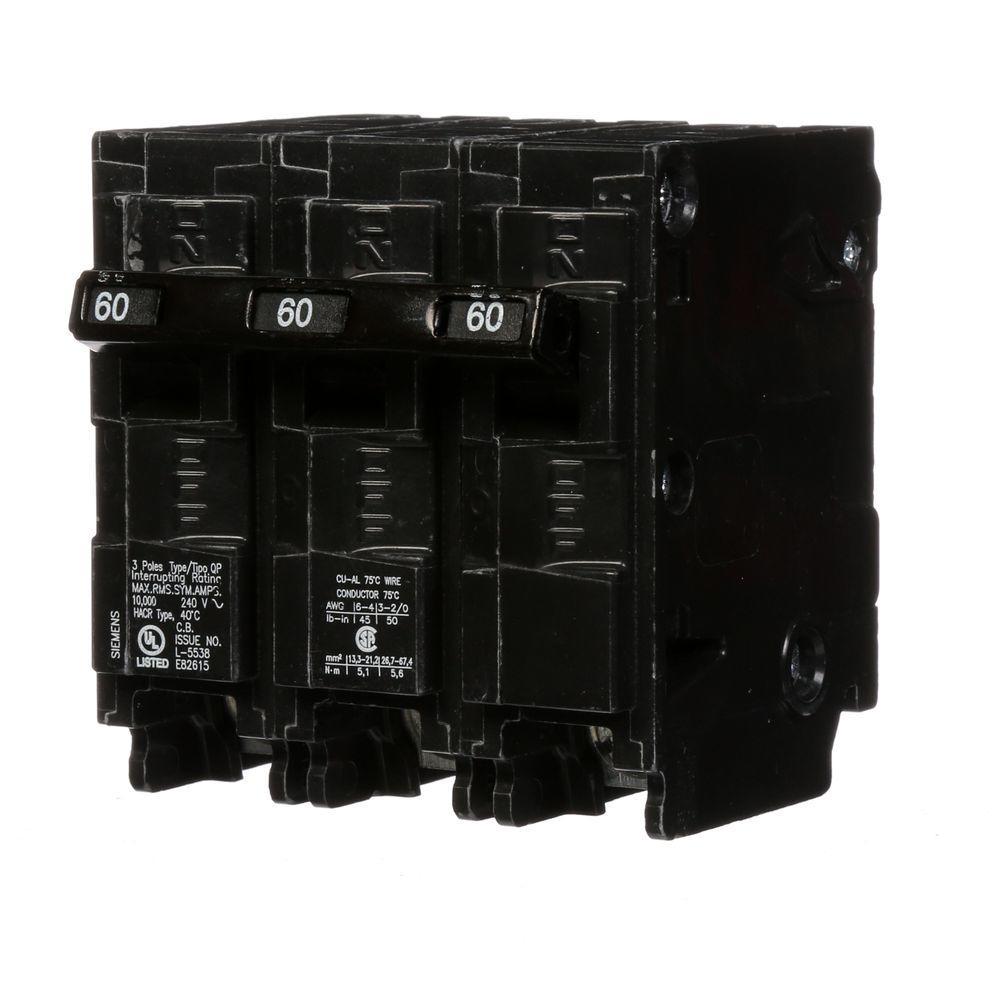 60 Amp Three-Pole Type QP Circuit Breaker