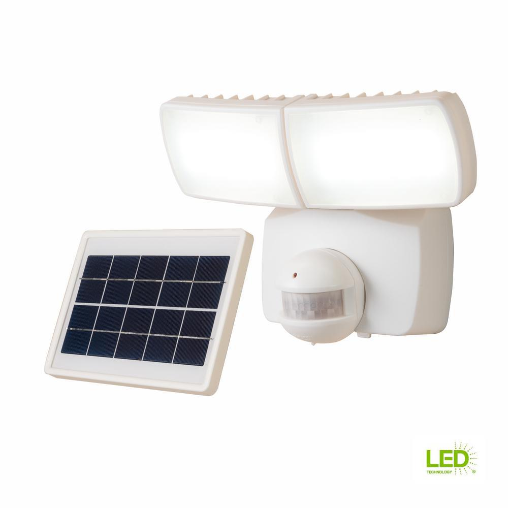 180-Degree White Motion Activated Outdoor Solar Powered Integrated LED Twin Head