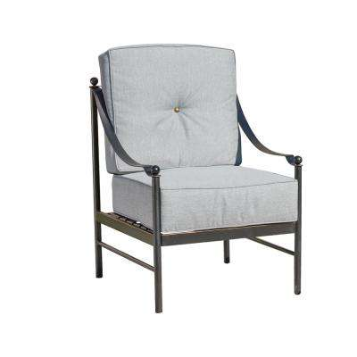 Metal Outdoor Lounge Chair with Gray Cushions
