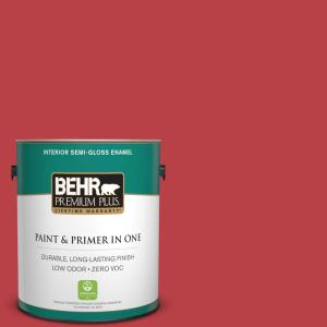 Home Decorators Collection 1 gal. #HDC-MD-16 Cherry Red Semi-Gloss Enamel Zero VOC Interior Paint and Primer in One