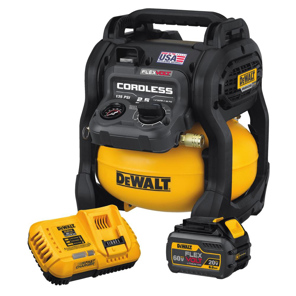 DEWALT FLEXVOLT 2.5 Gal. 60-Volt MAX Brushless Cordless Electric Air  Compressor Kit w