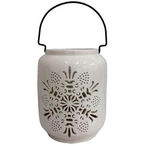 8 in. Candle Holder with White Snowflake Design