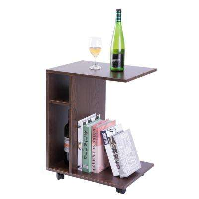Modern Brown Sofa Side Table with Shelves and Casters