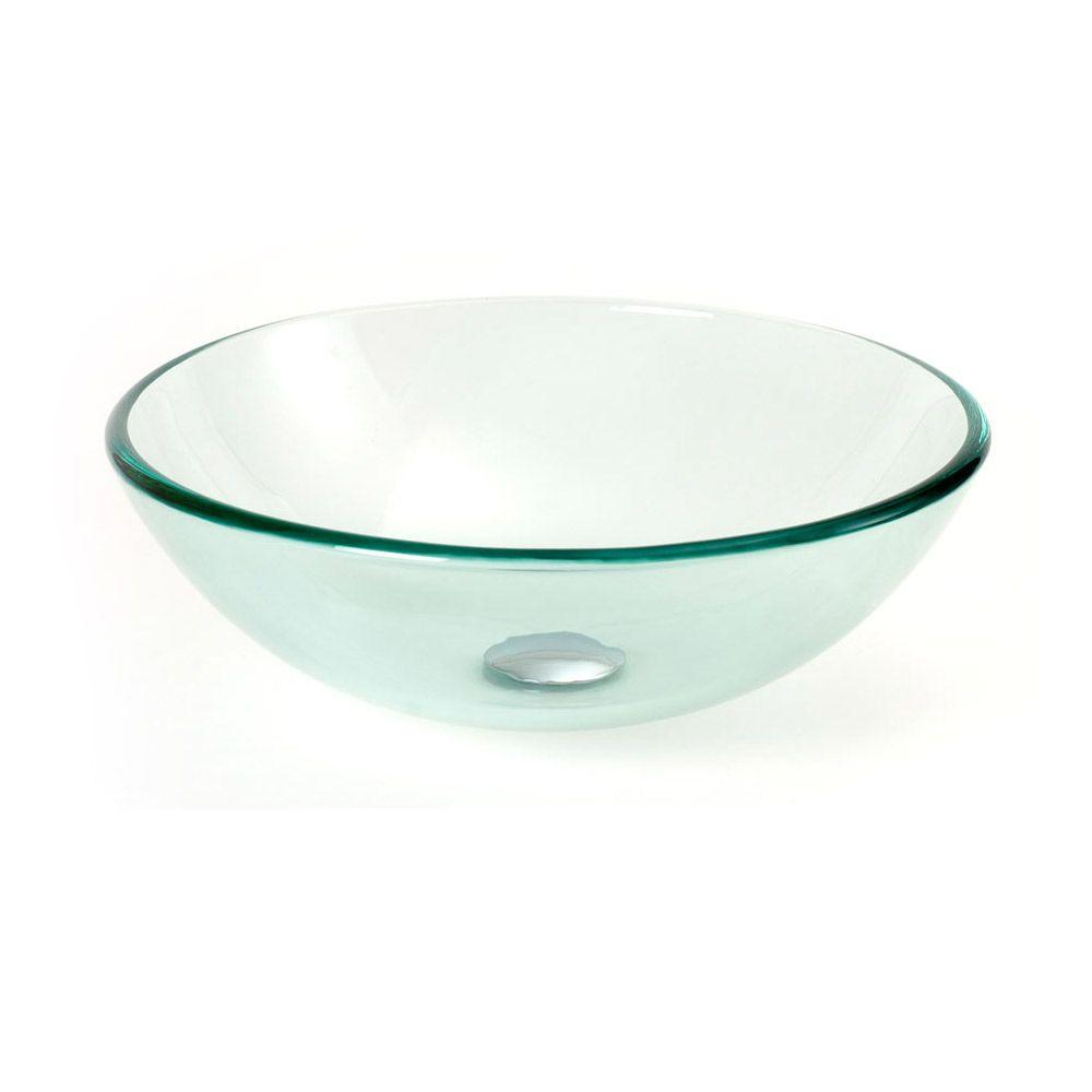 DreamLine Round Glass Vessel Sink in Clear Glass