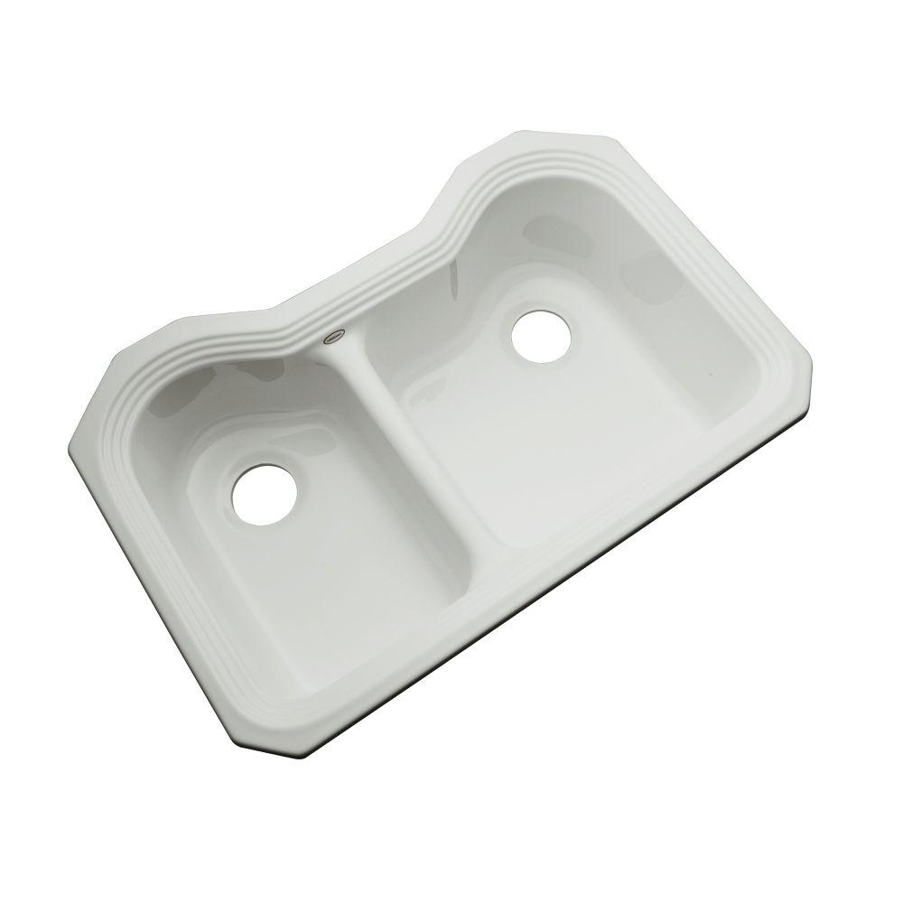Thermocast Breckenridge Undermount Acrylic 33 in. Double Basin Kitchen Sink in Sterling Silver