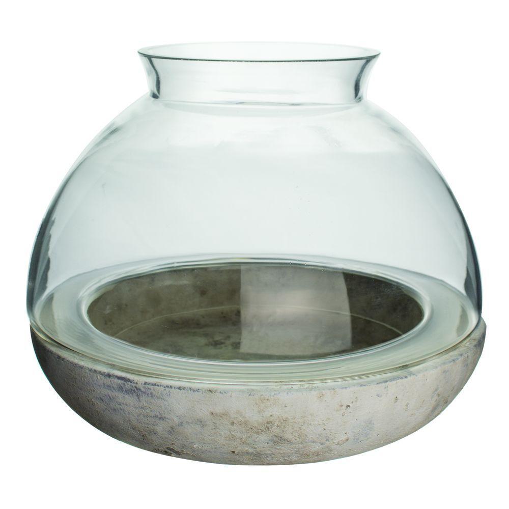 Syndicate Home Garden 10 1 4 In X 7 7 8 In Cement Glass Terrarium
